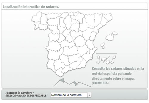 Mapa de radares en territorio español de AEA