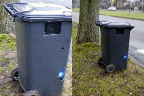 Radar oculto en cubo de basura